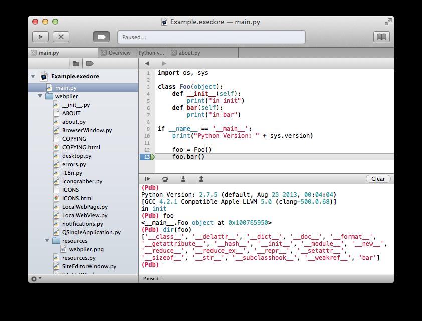 Exedore: A Mac-native Python IDE